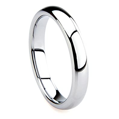 tungsten metal 4mm plain dome wedding band ring sz 40 - Size 4 Wedding Rings