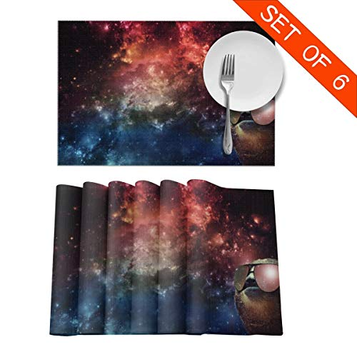 LLIJKOR Sloth Wearing Sunglasses in The Galaxy Washable Fabric Placemats 12 X 18in Set of 6,3D Printed Table Mat, Snack Drink Non-Slip Anti-scalding Placemat for Dining Table,Kitchen Drink ()