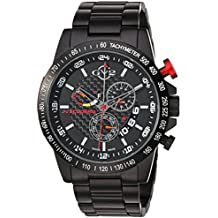 GV2 by Gevril Scuderia Mens Chronograph Swiss Quartz Alarm GMT Black Stainless Steel Sports Racing Watch, (Model: 9900B)