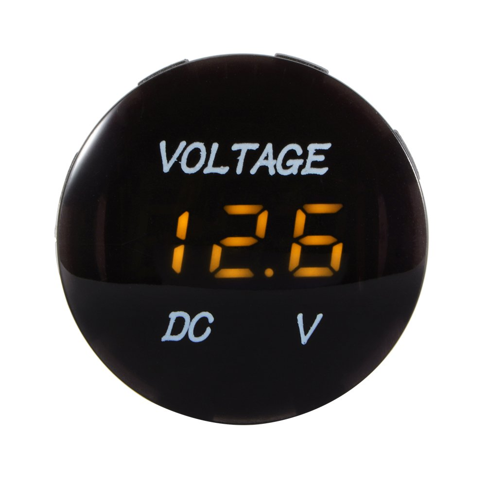 XCSOURCE Universal Digital Display Voltmeter Waterproof Voltage Meter Orange LED for DC 12V-24V Car Motorcycle Auto Truck MA1060 KKTPY0337