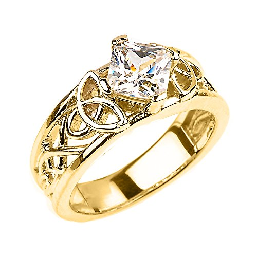 CZ Engagement Rings Solid 10k Yellow Gold Celtic Knot Princess Cut (Size 6)