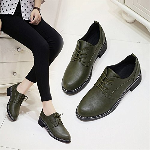 RAINSTAR Womens Casual Lace Up Pu Leather Low Heels Oxford Round Toe Shoes Green rNJU1Gtc