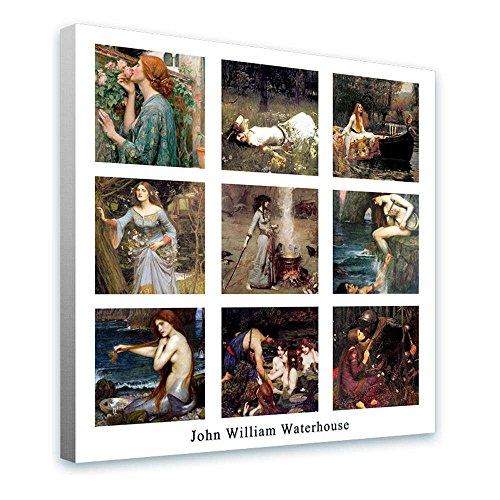 Alonline Art - Collage 9 Ophelia Mercy Smoke Siren Waterhouse FRAMED STRETCHED CANVAS (100% Cotton) Gallery Wrapped - READY TO HANG | 28