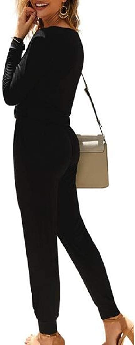 HTOOHTOOH Womens V Neck Button Down Long Sleeve Jumpsuit Long Pants Romper