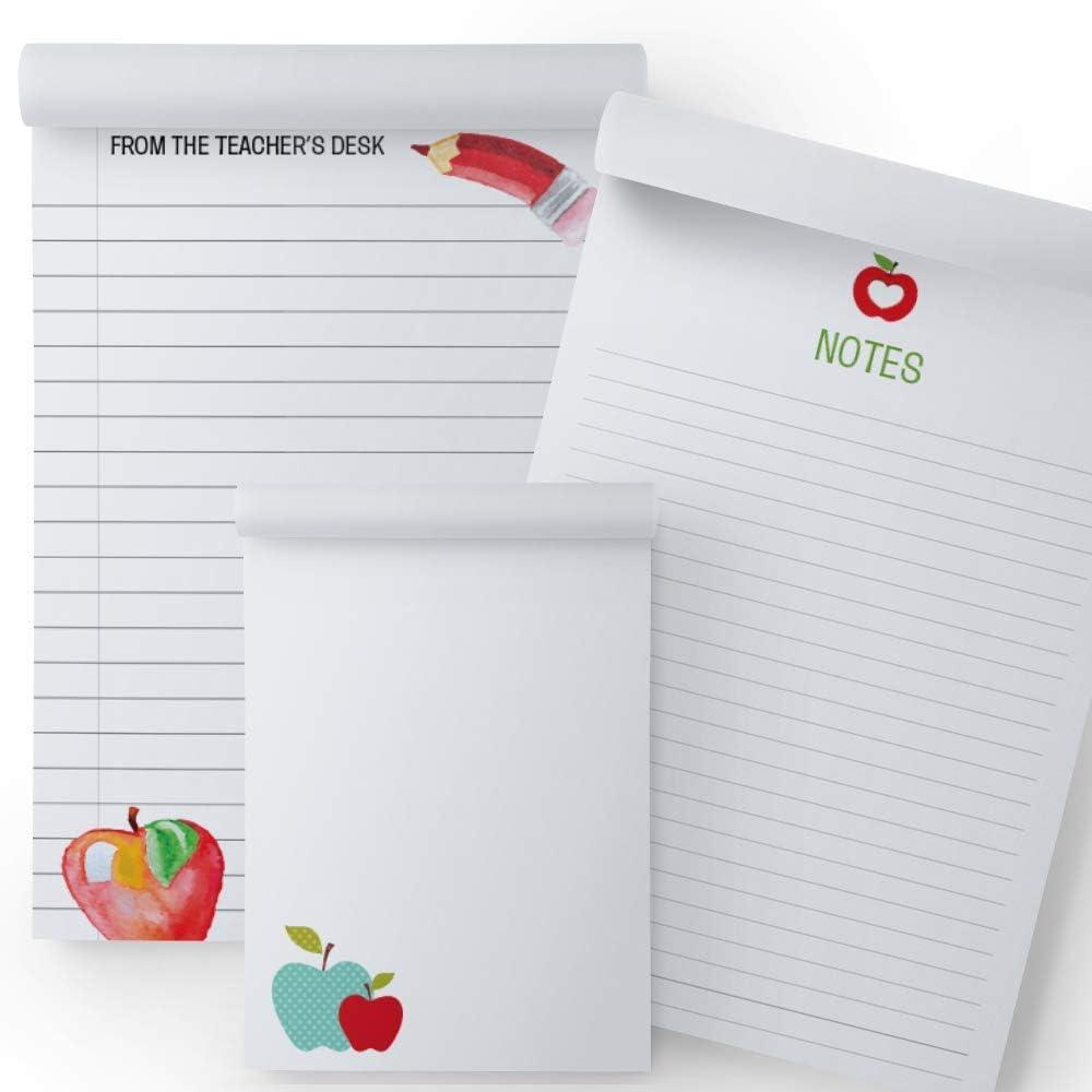 3 Assorted Designs School and Classroom Adorable Apples Teacher Memo Pads: 3-Pack Notepads for Teachers 50 Sheets Each Great Teacher Gifts 5.5 x 8.5 4 x 5.5