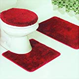 Red Bathroom Mat Set GorgeousHomeLinen *Various Colors* 3 Pc Bathroom Set Bath Mat, Contour, and Toilet Lid Cover, with Rubber Backing (Red #6)