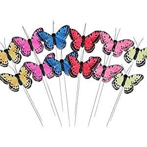 BANBERRY DESIGNS Craft Butterflies - Butterfly Floral Picks - Set of 12 Colorful Glitter Artificial Butterflies Attached to Wire Stems - Butterfly Centerpieces - Butterfly DIY - Feather Butterflies 32