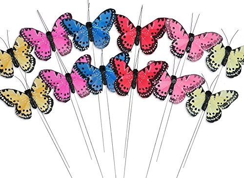 Butterfly Plastic Glitter - BANBERRY DESIGNS Craft Butterflies - Butterfly Floral Picks - Set of 12 Colorful Glitter Artificial Butterflies Attached to Wire Stems - Butterfly Centerpieces - Butterfly DIY - Feather Butterflies