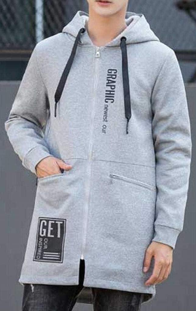 DFBB Mens Thicken Winter Warm Full-Zip Mid Length Drawstring with Velvet Hooded Sweatshirt