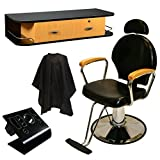 LCL Beauty Salon Styling Station Package: Black Adjustable Hydraulic Salon Barber Chair with Oak Arms, Black Wall Mount Styling Station with Oak Drawers
