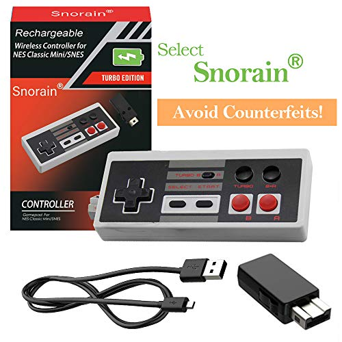 2 Pack Rechargeable NES Classic Mini Wireless Controller -TURBO EDITION-Rapid Buttons Edition for Nes Gaming System with 2.4G Wireless Receiver by Snorain (Image #5)