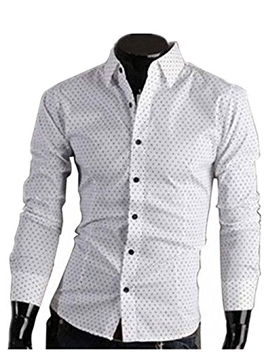 LaiGouMai Men's Top Designed Slim Fit Casual Polka Dot Long Sleeve Shirts