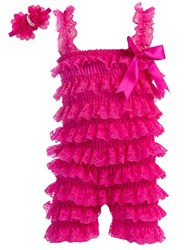 Hot Pink Cake - Zcaynger Baby Girls Bowknot Lace Folds Romper and Headband (L(12-24month), Rose red)