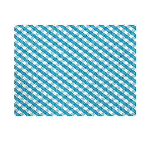 Checkered Photography Background,Diagonal Stripes in Aqua Color Monochrome Crossed Lines in Classical Tile Design Backdrop for Studio,10x10ft