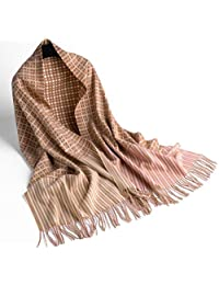 nwn Double-Sided Plaid Scarf Female Winter Korean Tassel Cashmere Soft Shawl Thick Warm (Color : D)