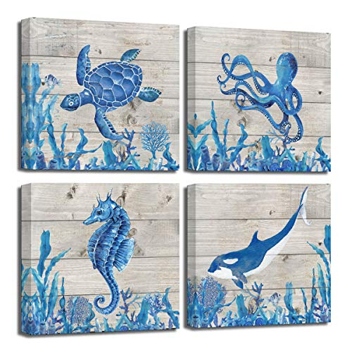 blue and coral bathroom decor - 5