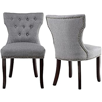 Delicieux LSSBOUGHT Set Of 2 Fabric Dining Chairs Leisure Padded Chairs With Brown  Solid Wooden Legs,