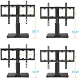 HUANUO HN-TVS03 Universal Adjustable Table Top TV Stands for 32 to 60 Inch Televisions with 70 Degree Swivel & 4 Level Height Alignment, Tempered Glass Base, Anti-Tip Safety Strap, Black Variant Image