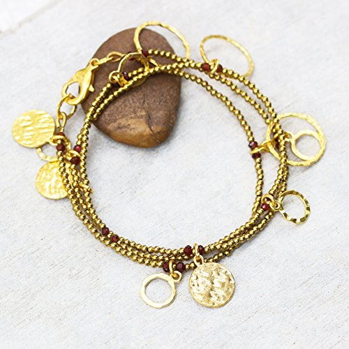 - Wrap bracelet garnet faceted beads with gold 22k plated on brass beads,large golden texture disc and gold ring decoration(S)