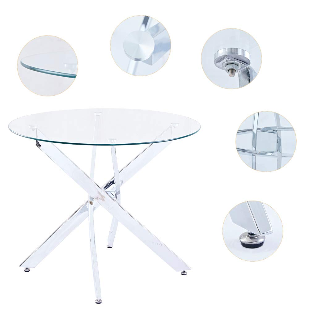SICOTAS 35.4'' Round Dining Table with Clear Safety Tempered Glass Top Stable Chrome Cross Legs,Small Kitchen Table for 4 Person (Table Only) by SICOTAS (Image #3)