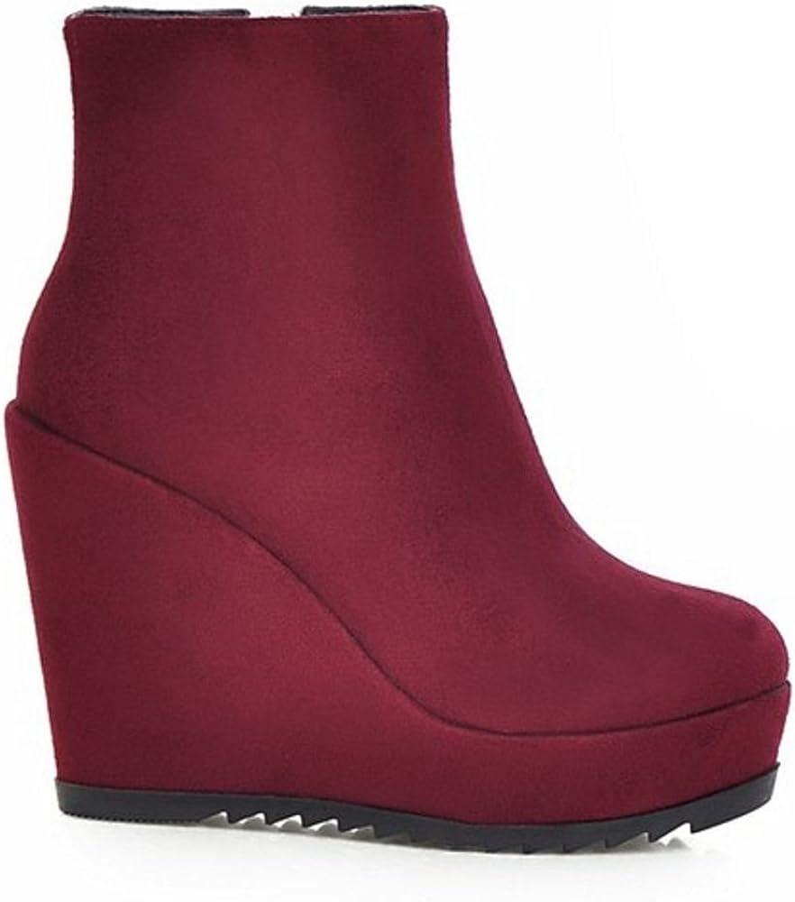 Modisch Kostengünstig Bestbewertet RAZAMAZA Damen Schuhe Keilabsatz Plateau Reißverschluss Keilstiefeletten Stiefeletten Red 1D0Te kanpX MCo0W