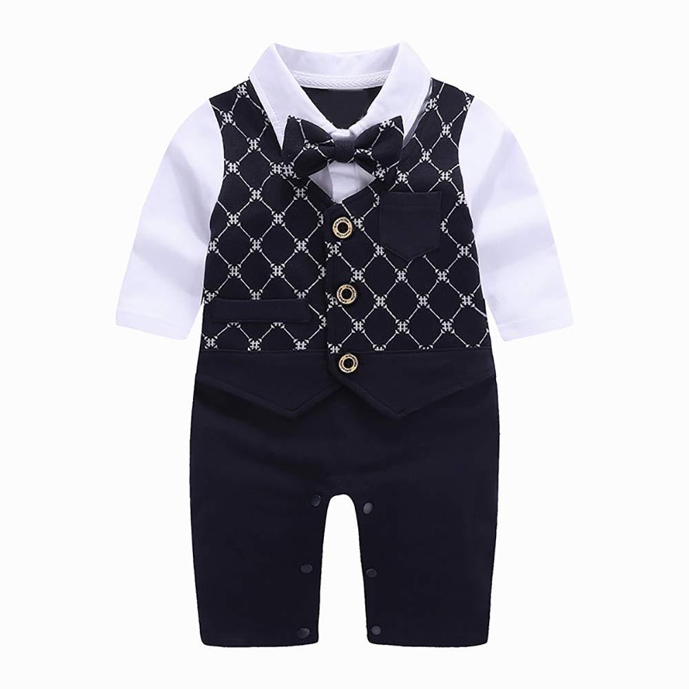 SeClovers Gentleman Bowtie Romper-Newborn Long Sleeve Jumpsuit,Outfits BY72