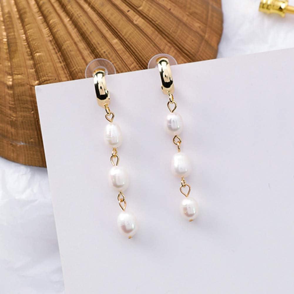 ZHQJY Pendientes de Perlas Irregulares geométricas para Mujeres Perlas ovaladas Pendientes de Bucle pequeños Joyas