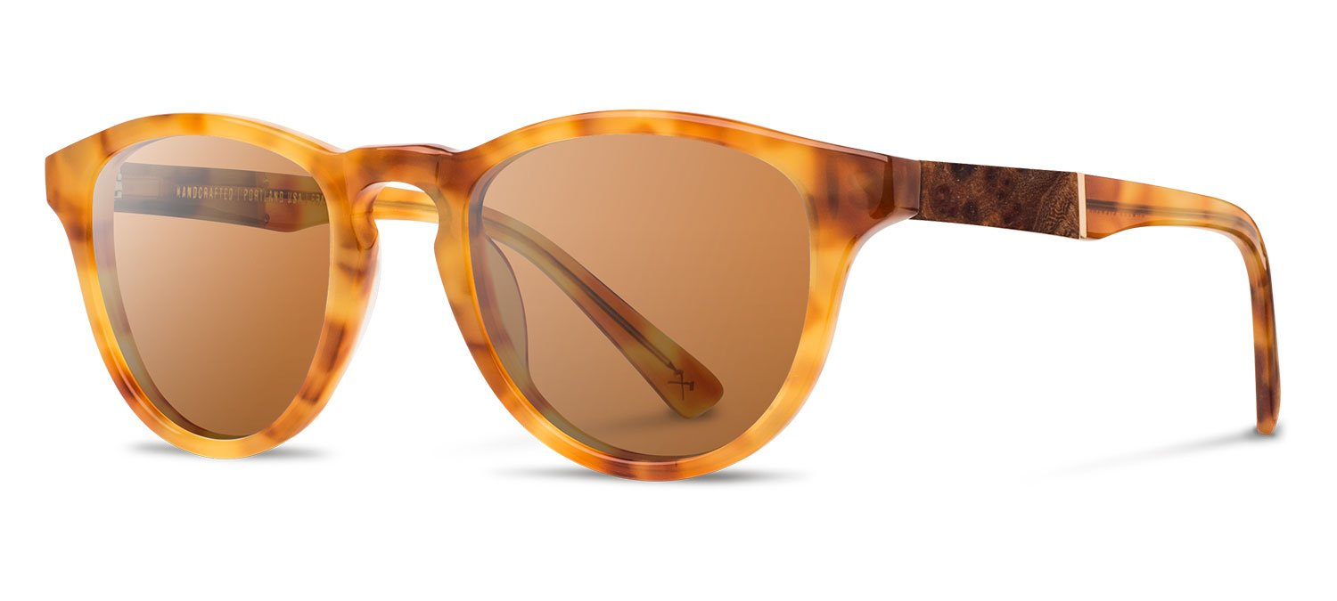 Shwood - Francis Acetate, Sustainability Meets Style, Amber/Elm, Brown Polarized Lenses
