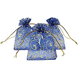 Ankirol 100pcs Sheer Organza Bag Eyelash Print Wedding Favor Bags 3.5x4.5'' Luxury Jewelry Candy Gift Card Bags With Gold Line Drawstring Pouches (blue)