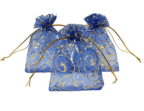 (Ankirol 100pcs Sheer Organza Bag Eyelash Print Wedding Favor Bags 3.5x4.5'' Luxury Jewelry Candy Gift Card Bags with Gold Line Drawstring Pouches (Blue))