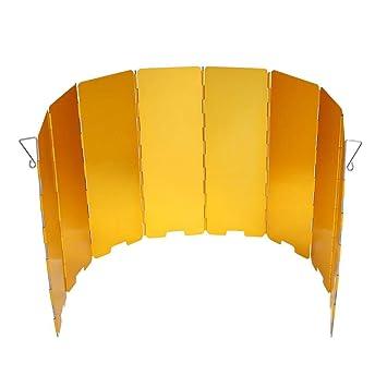 Dioche Parabrisas de Camping, Parabrisas Plegable para Camping Cocina Estufa de Gas Escudo Pantalla de Viento Cortavientos al Aire Libre(Amarillo): ...