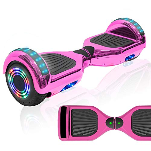"NHT 6.5"" Chrome Edition Hoverboard Self Balancing Scooter w/LED Wheels and Lights (Chrome Rainbow (No Bluetooth))"