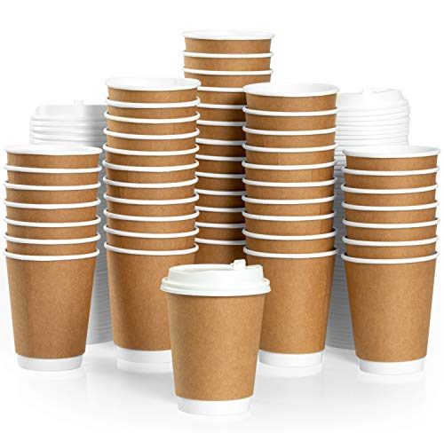 (50 Pack of Disposable Coffee Cups with Lids - 12 oz Double Wall Paper Coffee Cups To Go - Insulated & Recyclable - No Need for)