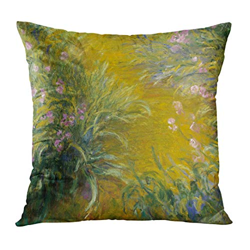 TOMKEYS Throw Pillow Cover The Path Through Irises by Claude Monet 1914_17 French Impressionist Painting Oil on Canvas in His Last Decorative Pillow Case Home Decor Square 18x18 Inches Pillowcase ()