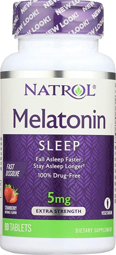 Natrol Melatonin Fast Dissolve Tablets Strawberry 5 mg, 90 Tablets (1 Item only)