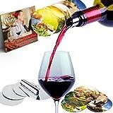 Wine Pourer Disc Set of 50 with 5 Designs Best Drip Stop Pour Spouts Thin Flexible and Reusable Drop Stop Disks