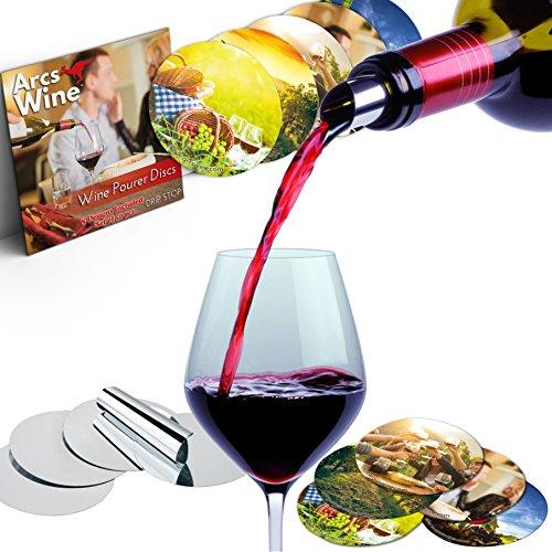 Flexible Spout (Wine Pourer Disc Set of 50 with 5 Designs Best Drip Stop Pour Spouts Thin Flexible and Reusable Drop Stop Disks)
