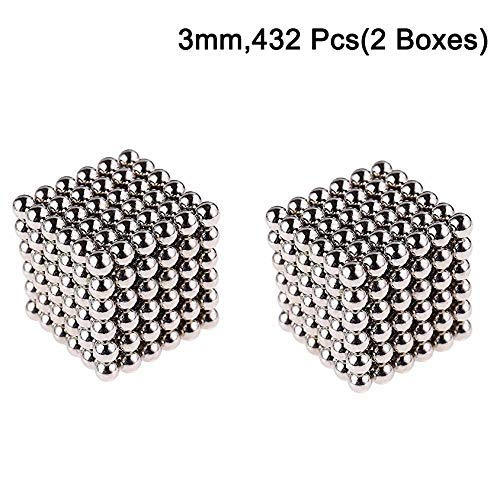 3mm Magnetic Fidget Blocks Ball, EVERMARKET Magnetic Sculpture Toy for Intelligence Development, a Great Toy for Office, Home, and Everywhere - with a Metal Gift Box (432 pcs,2 Boxes)