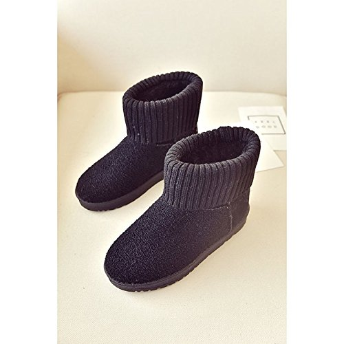 HSXZ Zapatos de mujer Suede Nieve del invierno botas botas nulo bajo el talón puntera redonda Mid-Calf botas / for casual Borgoña Gris negro Black