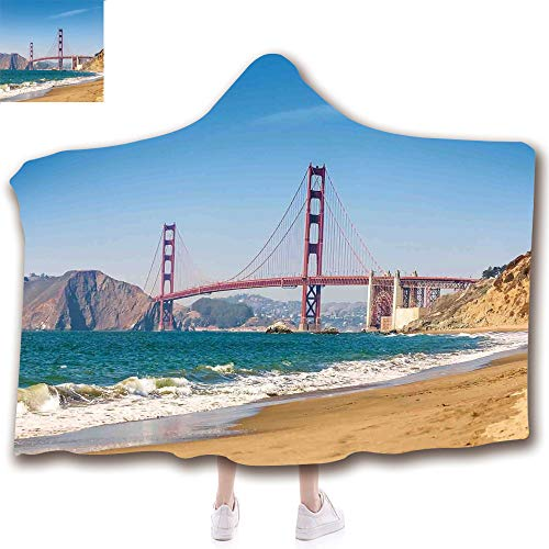 Fashion Blanket Ancient China Decorations Blanket Wearable Hooded Blanket,Unisex Swaddle Blankets for Babies Newborn by,Golden Gate Bridge San Francisco Coastline Nature,Adult Style Children Style