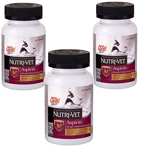(3 Pack) Nutri-Vet K-9 Aspirin Chewables, 75 Count Each ()