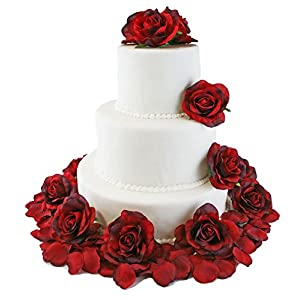 TheBridesBouquet.com Red Silk Rose Cake Flowers - Reception Decoration 69