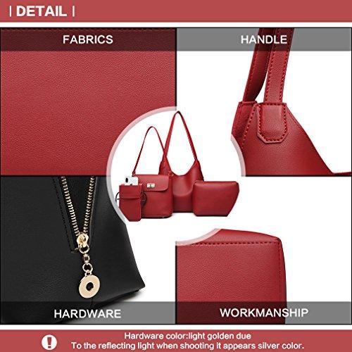 Phone for Bag Lulu Pu Elegant Pu Gift Fashion Leather Ladies Holder Leather Wallet Miss Bag Women Shoulder Girls for Handbag Burgundy Crossbody Set 4 RwUdx