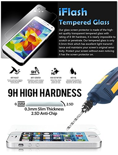 iFlash Premium Tempered Glass Screen Protector: Crystal Clear & Bubble Free 0.3mm thickness edition - For Samsung Galaxy S4 Mini / i9190 - Retail Packaging (Note: This screen protector is for Samsung Galaxy S4 Mini Model, NOT the S4 model. S4 and S4 Mini are two different models)