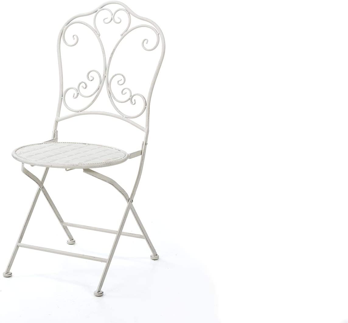 SILLA FORJA BLANCA ANTIQUE 54x41x90 CM: Amazon.es: Hogar