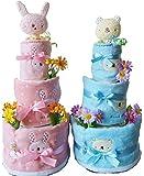 【女の子用うさちゃん】(パンパースS)おむつケーキ 3段 出産祝い anano cafe アナノカフェ タオルとスタイ 女の子 オムツケーキ (2月の誕生石のサンキャッチャー)