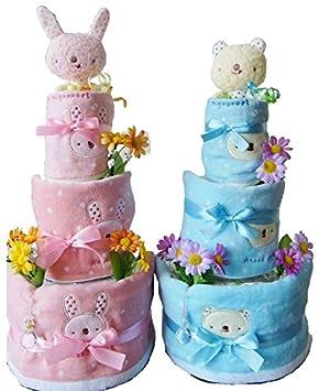39d262a5f862a  女の子用うさちゃん (パンパースS)おむつケーキ 3段 出産祝い