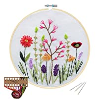 Cross Stitch Stamped Embroidery Kit - Evermarket DIY Beginner Counted Starter Cross Stitch Kit for Art Craft Handy Sewing Including Color Pattern Embroidery Cloth,Embroidery Hoop,Color Threads,Tools