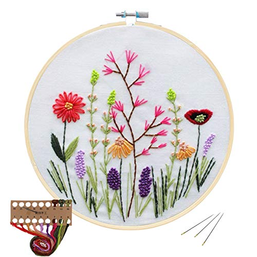 Cross Stitch Stamped Embroidery Kit - Evermarket DIY Beginner Counted Starter Cross Stitch Kit for Art Craft Handy Sewing Including Color Pattern Embroidery Cloth,Embroidery Hoop,Color Threads,Tools -