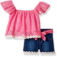 Limited Too Girls' Toddler Fashion Top Short Set, Circle lace/Daisy Pink, 4T